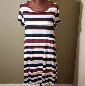 3for$20 - black multi striped midi dress